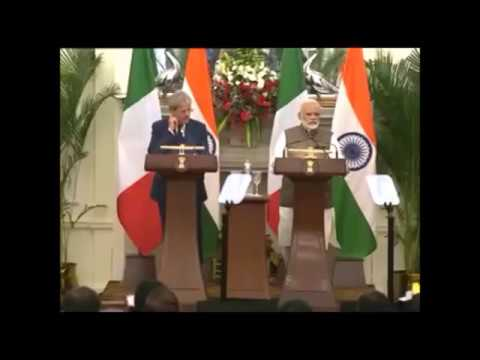 PM Modi and Paolo Gentiloni PM of Italy at Joint Press Statement