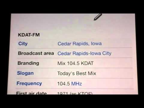 KDAT-FM Cedar Rapids, Iowa 7 p.m. (Central Time) TOTH ID from May 7, 2016