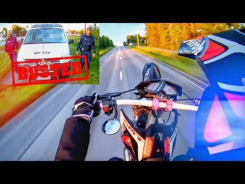 BUSTED WHEELING AGAIN! COOL & ANGRY POLICE VS BIKERS