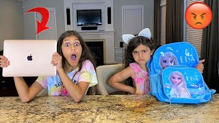 BackPack Switch Up Challenge!! sally vs deema - family fun
