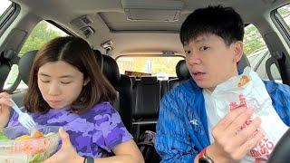 跟老婆在車上吃麥當勞...最愛?.|關西休息站