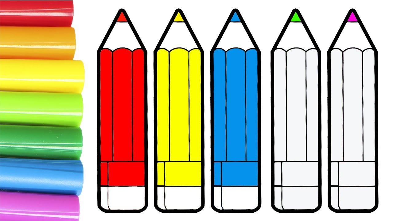 Dibuja y Colorea 🎨 Aprende a colorear lápices de colores | Videos