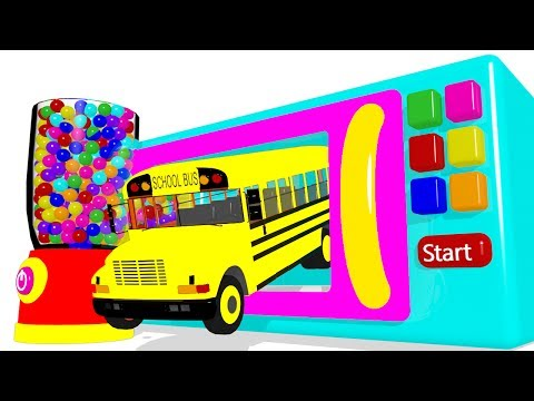 Thumbnail: Color for Kids with Surprise Eggs Microwave & Bus Superheroes for Children - Cars for Babies