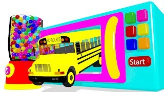 Color for Kids With Surprise Eggs Microwave and Bus Superheroes for Children - Cars for Babies
