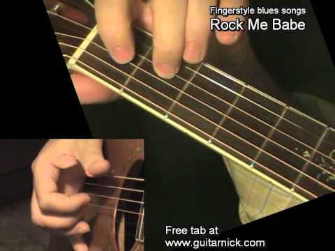 Lightnin' Hopkins - ROCK ME BABE - Fingerstyle Blues +TAB By GuitarNick