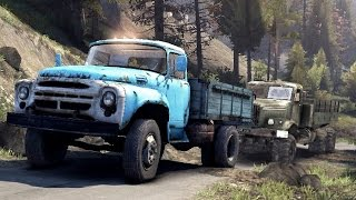 spintires 2014 the hill map b 130 trying to tow up hill a kraz 255 truck