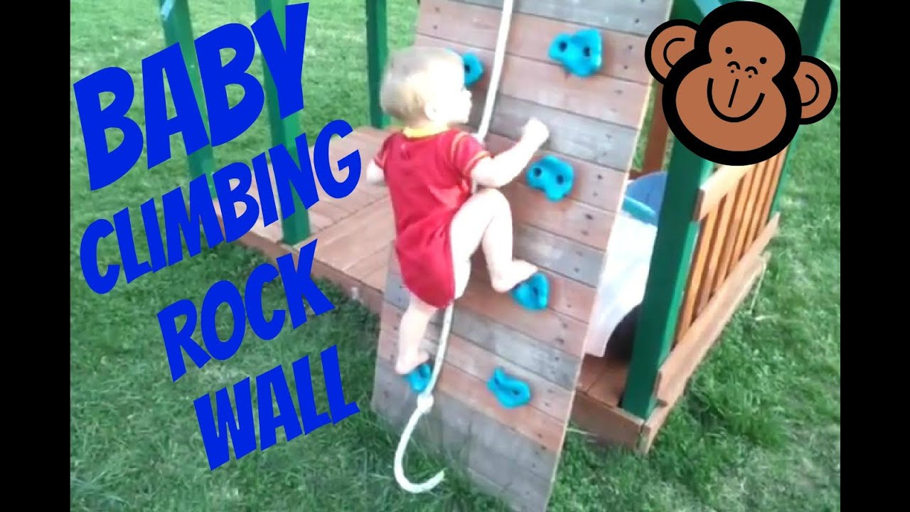 baby climbing rock wall on swing set youtube. Black Bedroom Furniture Sets. Home Design Ideas