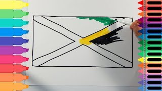 How to Draw Jamaica Flag - Drawing the Jamaican Flag - Art colors for kids | Tanimated Toys