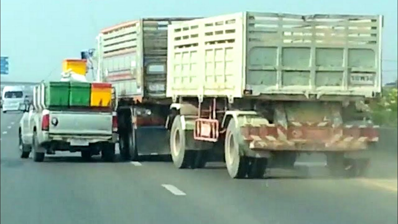 toyota hilux  volvo truck road rage battle   highway youtube
