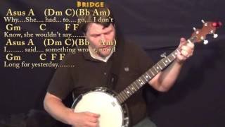 Yesterday (The Beatles) Banjo Cover Lesson with Chords/Lyrics