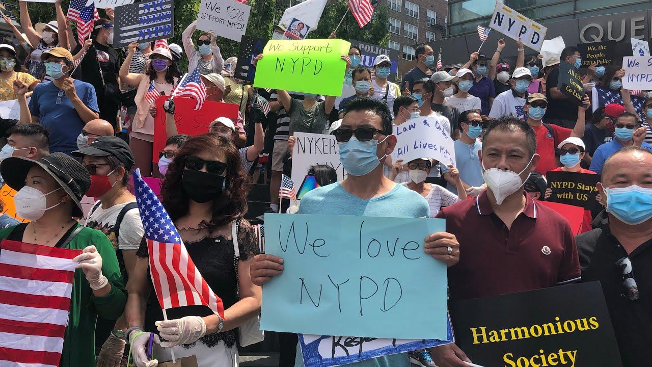 Live 7/3 New York Flushing  protest直播  纽约 法拉盛 图书馆 支持警察的活动