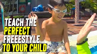 Beginner Kids Learn how to Swim Freestyle in 1 Class ! SWIM to Fly ®  | Swimming School