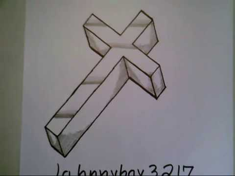 How To Draw A 3D Cross Crucifix Step By Step Easy For ...