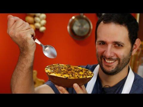 Ovo de Páscoa de colher com mousse de maracujá