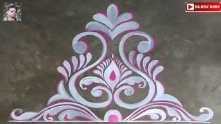 Very easy door alpona for lakhsmi puja,kolam ,muggulu design for indian festival