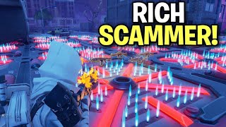 Psycho Rich Kid Scammer Scams Himself! (Scammer Gets Scammed) Fortnite Save The World