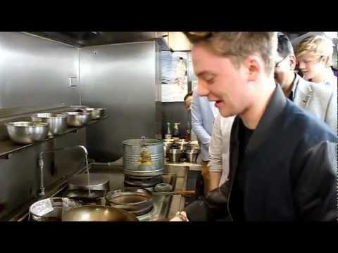 Conor Maynard Cooking At YumYum Thai Restaurant