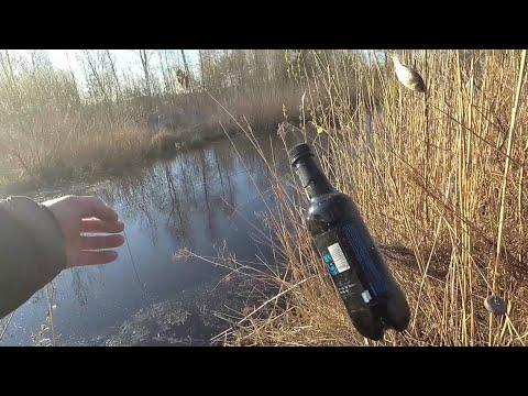 Бутылка-самоловка на щуку для ловли с берега. Рыбалка для ленивых. Беларусь 2020.