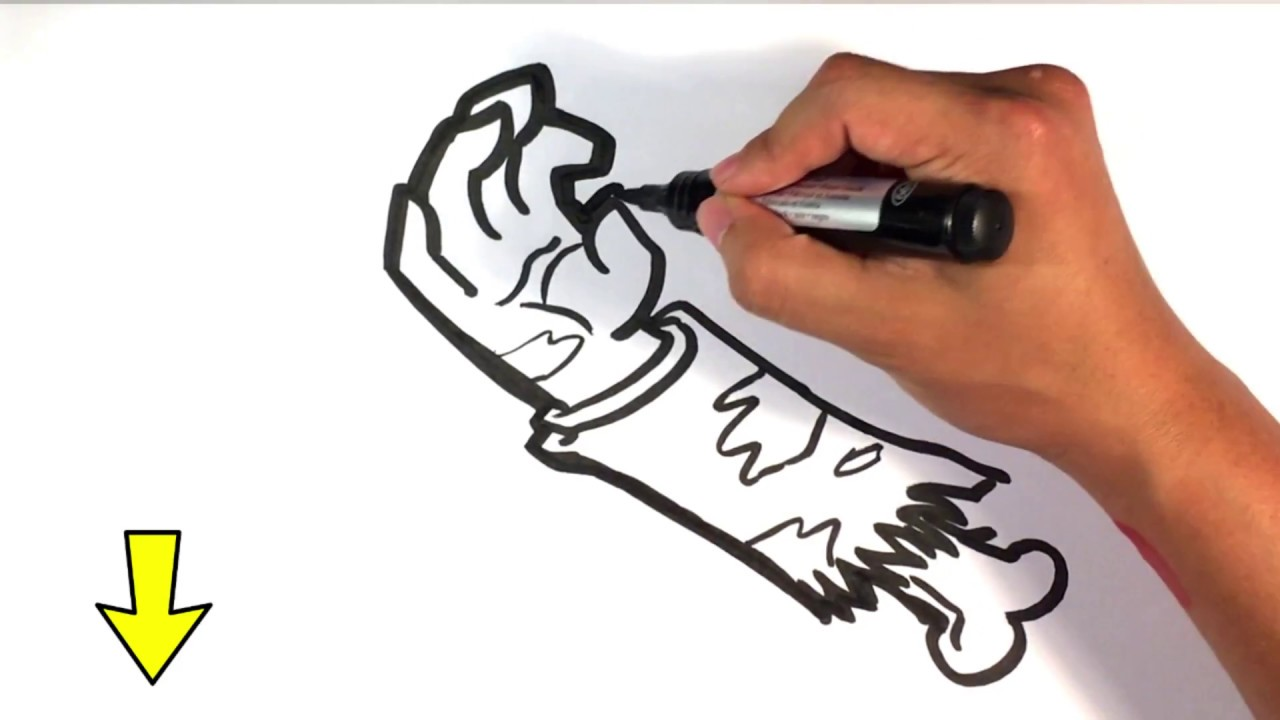 How To Draw Zombie Arm Halloween Drawings Youtube