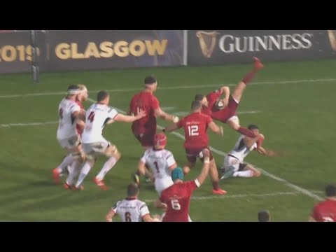 Baloucoune binned within 12 seconds after terribly timed aerial tackle. [Ulster vs Munster '18]
