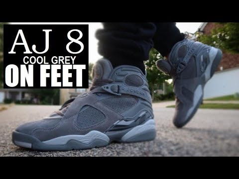 9de876def18 AIR JORDAN COOL GREY 8 COOL GREY RETRO SHOES ON FEET DETAILED REVIEW ...