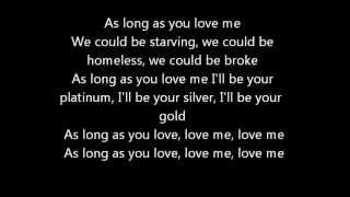 As Long As You Love Me Justin Bieber Ft Big Sean Official Lyrics