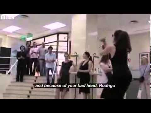 A flamenco flash mob performance in a Spanish bank