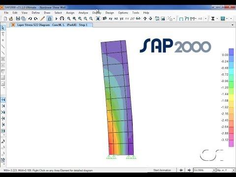 SAP2000 - 20 Nonlinear Shear Walls: Watch & Learn - YouTube