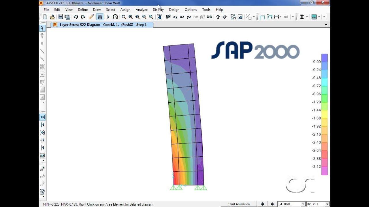 SAP2000 - 20 Nonlinear Shear Walls: Watch & Learn