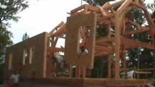 Riverbend Timber Frame Raising, Enclosing The Frame With Sips