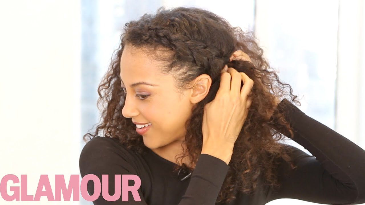 curly hairstyle how-to: the braided updo—hey hair genius - glamour