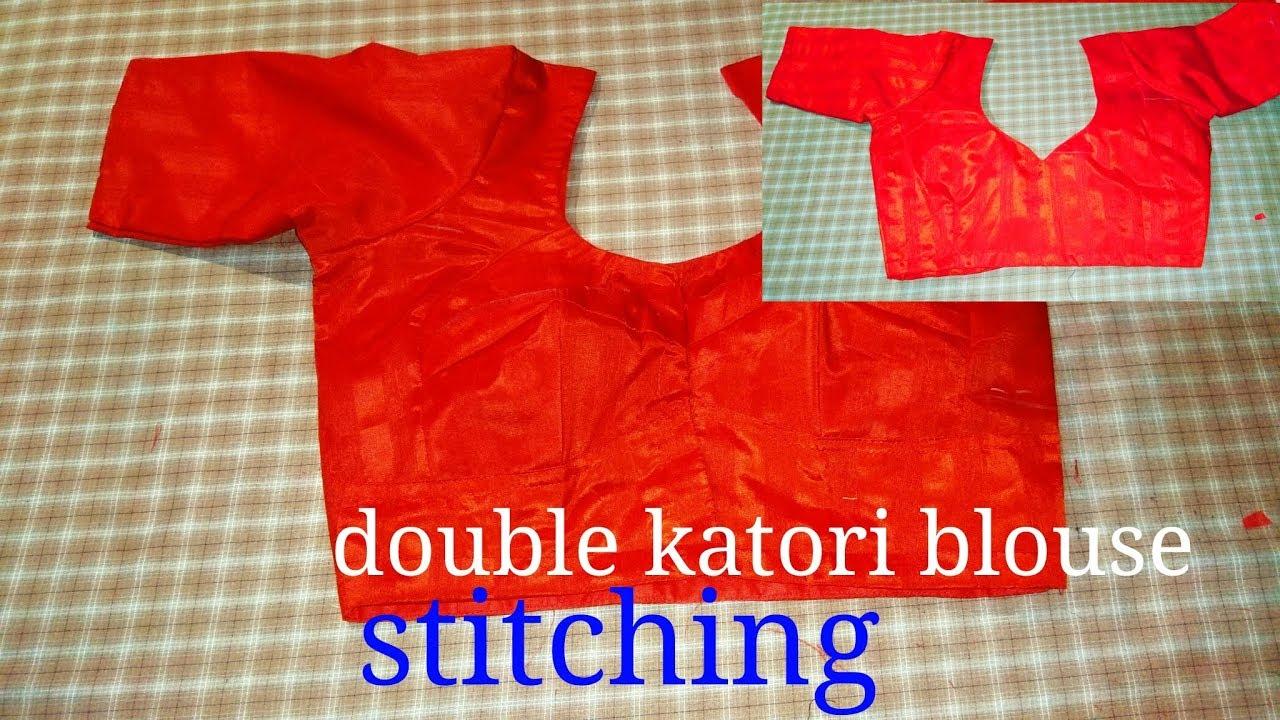 494df85273e57 34 size double Katori blouse stitching (part-2)in hindi - YouTube