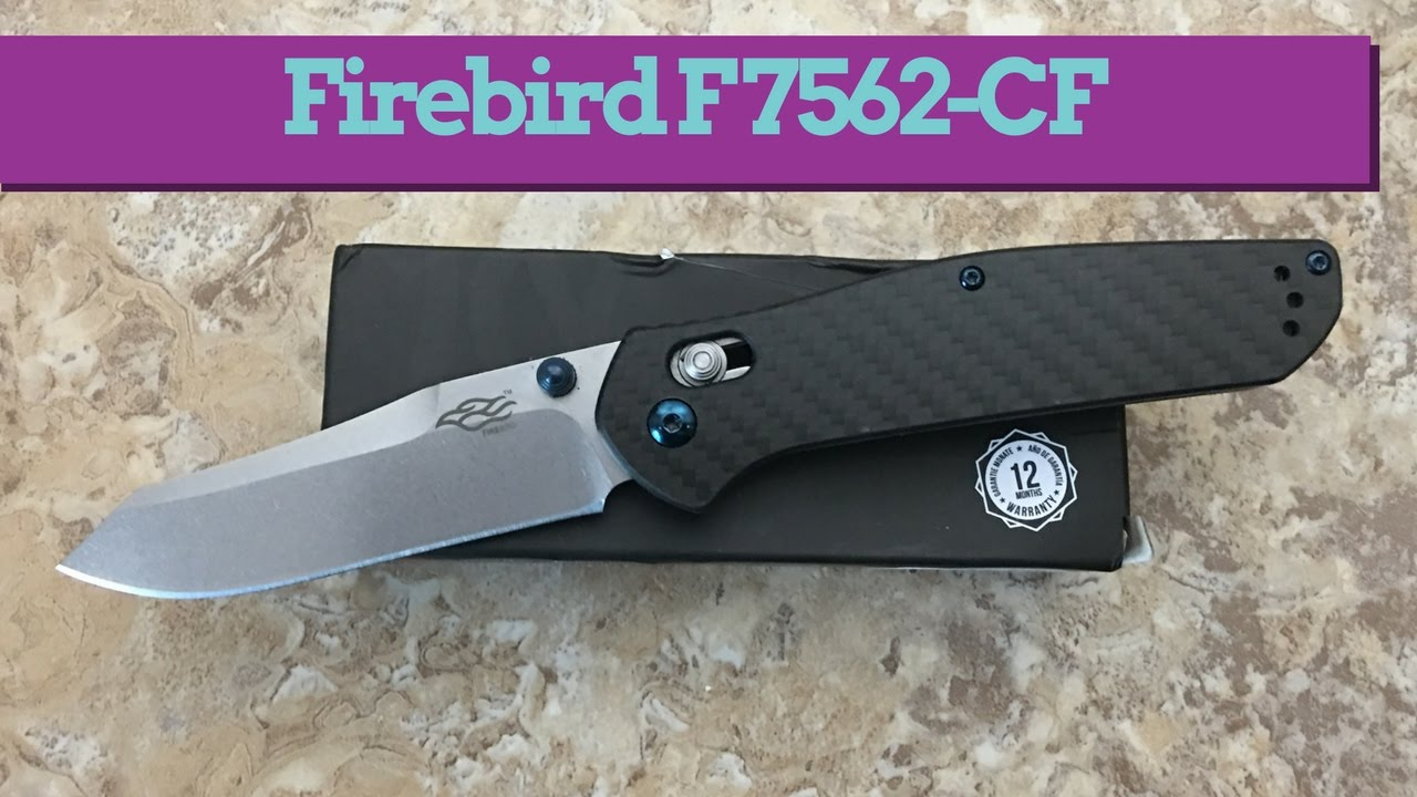 Ganzo Firebird F7562-CF knife with a piston lock and carbon fiber scales  great value
