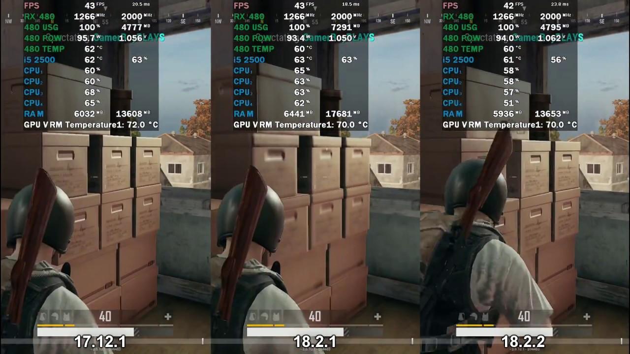 PUBG PC AMD Radeon Crimson 18 2 2 VS 18 2 1 VS 17 12 1 FPS Comparison Ultra  Settings 1080P