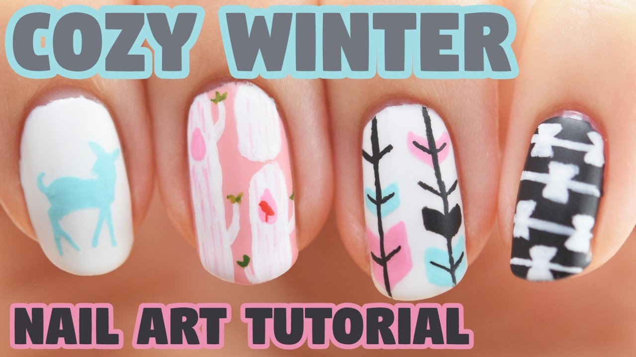 Cozy Mix And Match Winter Nail Art Tutorial Youtube