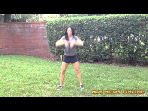 IFBB Professional Fitness Champion Michelle Adams  Training Video (Figure Eights and Squat)