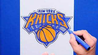 How to draw and color the New York Knicks Logo - NBA Team Series