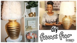 DIY: CHIC FAUX FUR | Gold Lamp & Shade UNDER $11!!!! HOME DECOR FOR LESS