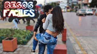 besos faciles a colombianas  broma  kissing prank