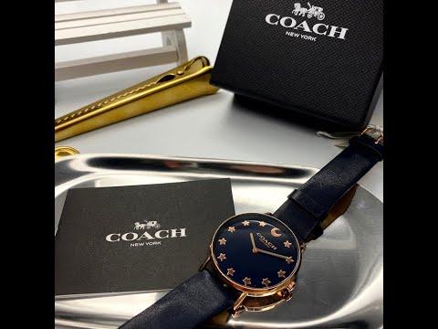 COACH蔻馳女錶,編號CH00009,36mm玫瑰金圓形精鋼錶殼,黑色簡約, 星空款錶面,深黑色真皮皮革錶帶款