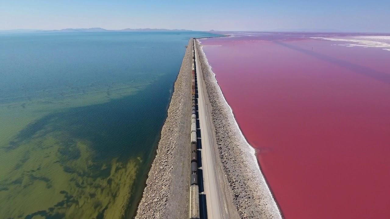 Great Salt Lake Causeway Train Over Pink Water