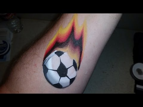 Soccer Ball with Flames. Arm painting Tutorial.