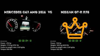 Mercedes C63 AMG 2016 vs. Nissan GT-R R35 - the 0-100 km/h duel. Wh...