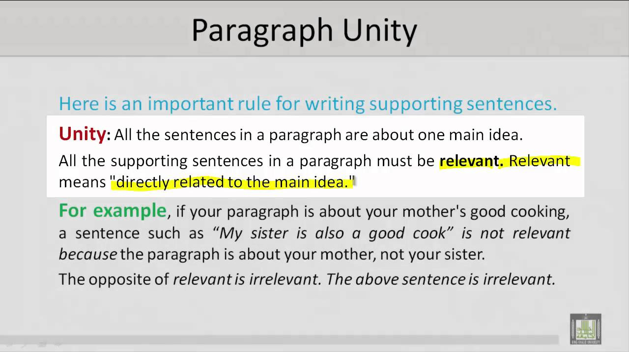 unity in paragraph writing