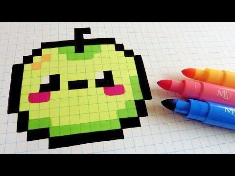 Handmade Pixel Art - How To Draw Kawaii Apple #pixelart