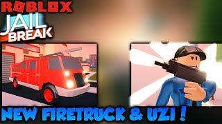 ROBLOX JAILBREAK FIRETRUCK UPDATE!! (NEW UZI, FIRETRUCK + MORE)