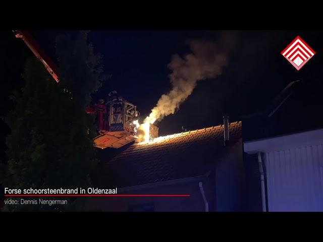 Forse schoorsteenbrand in Oldenzaal