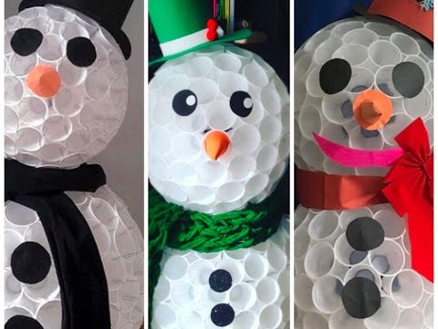 Muneco De Nieve Con Vasos Desechables Diy Snowman With Plastic