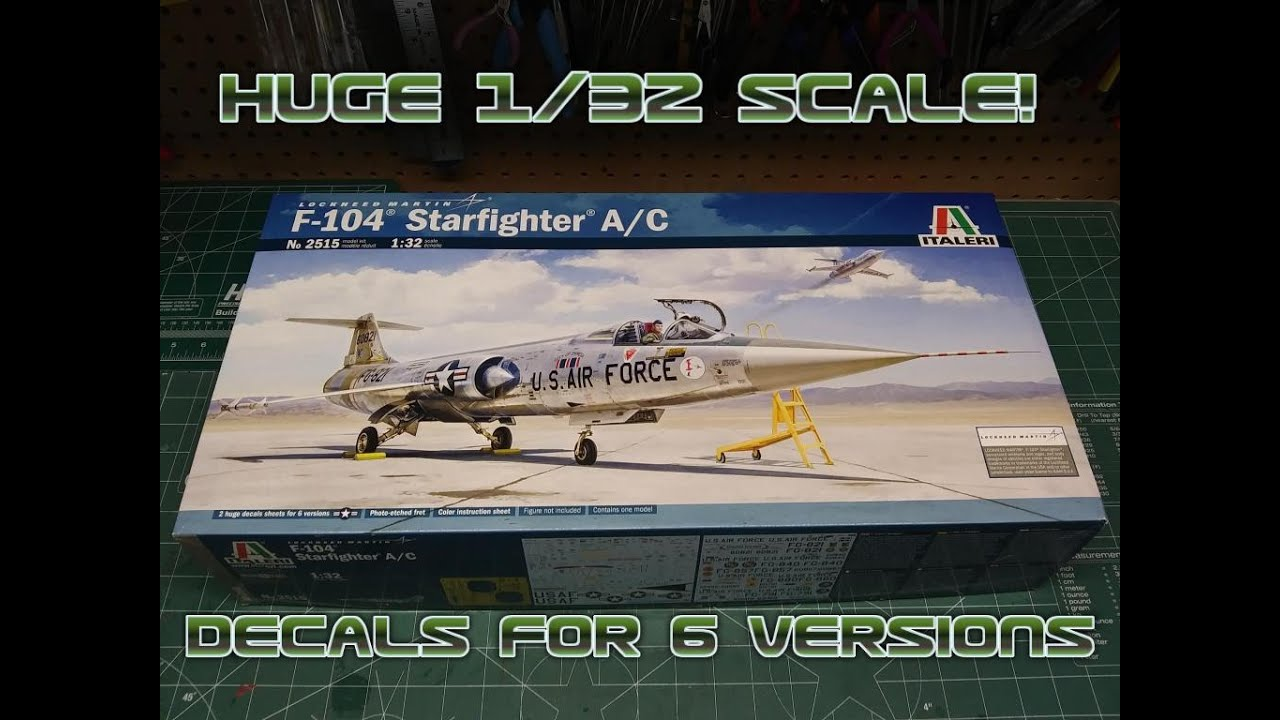F-104 A/C Starfighter 1/32 Scale Model Kit Review Italeri 2515 New Parts Decals Photoetch Jet