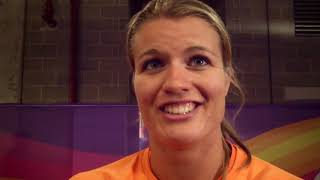 Dafne Schippers after repeating as 200m world champion